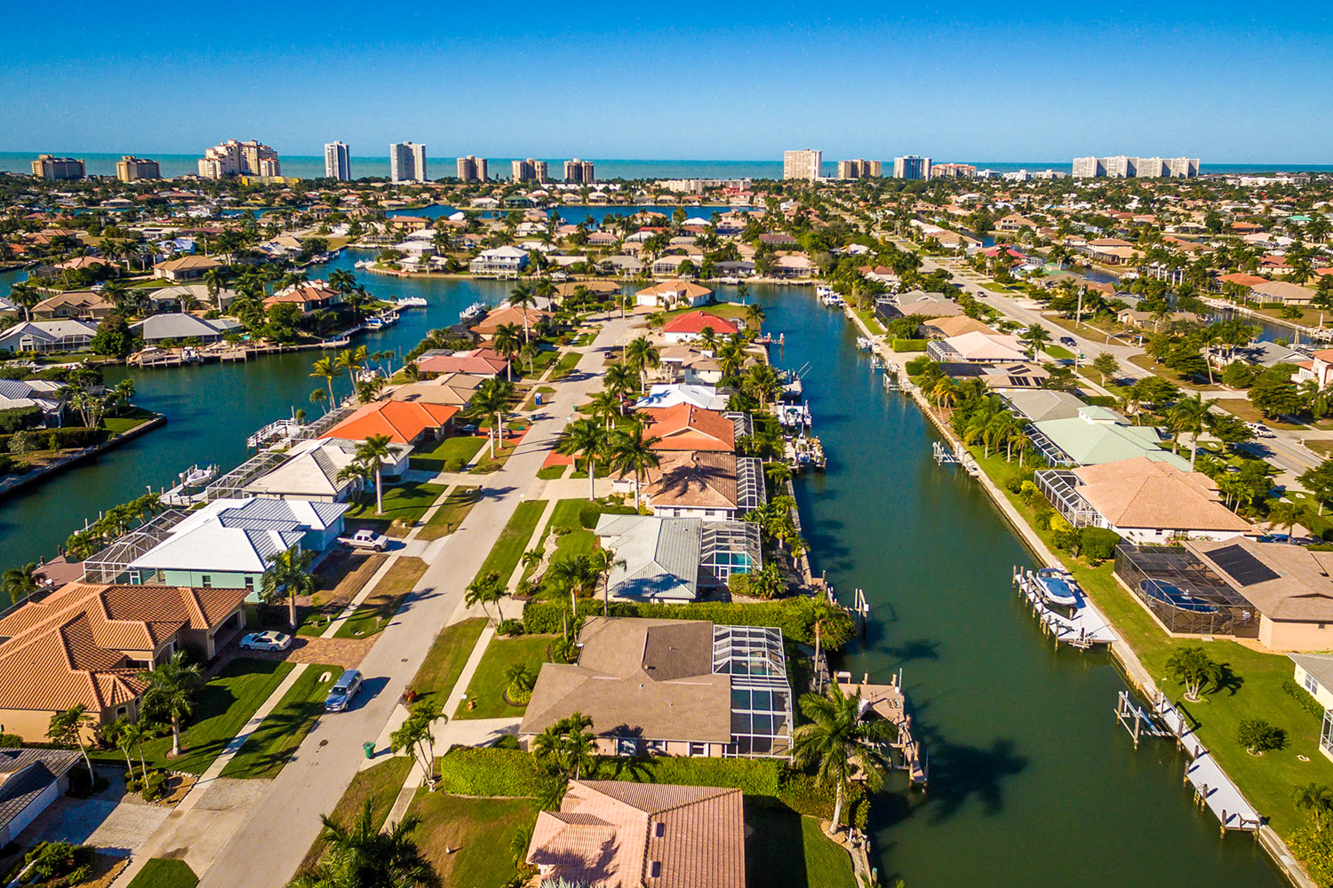 Marco Island Florida Aerial. Doug and Nicki Davis sell realty on marco island fl and specialize in Hideaway Beach and Cape Marco Real Estate.